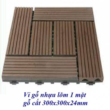 Vỉ gỗ nhựa lõm 1 mặt 300x300x24