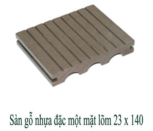Sàn gỗ nhựa đặc một mặt lõm 23x140